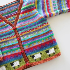 Rust Sheep Cardigan - Size 1-2 years- Hand knitted