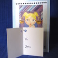 Blonde Libra Girl on Blue Glossy Birthday Card and Gift Tag