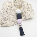 Lilac and Black Tassel Keyring