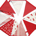 Christmas Bunting - Red Nordic Scandi Style Flags - Reindeers & Stars