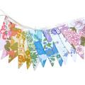 Vintage Bunting Retro Rainbow Floral Flags. Multi-Colour Home Decoration
