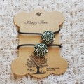 Hairband / Elastic - Christmas Snowflake Green / fabric covered button (19mm)
