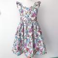 Size 2 -  Malibu Dress - White Floral - Cotton - Ruffle Sleeves