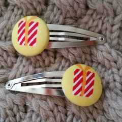 Fabric Button Hair Clips - Christmas Present