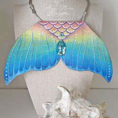 Tropical Island Mermaid Tail Handpainted Leather Large Statement Necklace