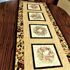 Autumn table runner, embroidered fall leaves