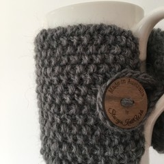 Handmade grey coffee cozy or mug, tea cosy, grey coffee cozy, mug cozy grey