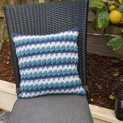 Reversible Spike Stitch, Three Colour Crochet Cushion Cover in 100% Australian W