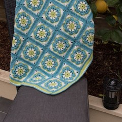 African Rose 100% Wool Baby Blanket in Light Blue, Green and cream