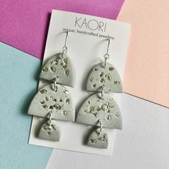 Polymer clay earrings, statement earrings in silver grey