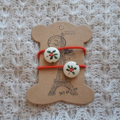 Hairband / Elastic - Christmas Holly / fabric covered button (19mm)