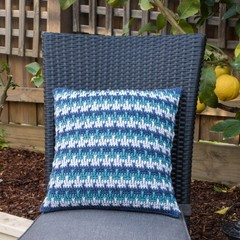 Three Colour Crochet Cushion Cover in 100% Australian Wool