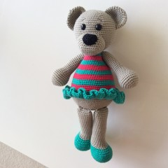 Crocheted Teddy Bear in Frilly Dress