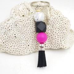 Hot Pink and Black Tassel Keyring.