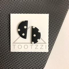 PoLKA DoT Collection - Half Moon Studs (Monochrome)