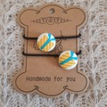 Hairband / Elastic - Christmas Present / fabric covered button (19mm)
