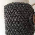 Handmade grey coffee cozy or mug, tea cosy, grey coffee cozy, mug cozy grey