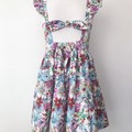Size 6 -  Malibu Dress - White Floral - Cotton - Ruffle Sleeves