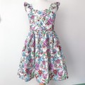 Size 5 -  Malibu Dress - White Floral - Cotton - Ruffle Sleeves