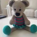 Crocheted Teddy Bear in Frilly Dress