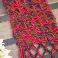 Red/BrownOmbre Scarf using a  Broomstick Lace Design