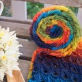 Colourful Rainbow Scarf using a  Broomstick Lace Design