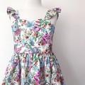 Sizes 1-6  -  Malibu Dress - White Floral - Cotton - Ruffle Sleeves