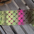 Fuschia Ombre Scarf using a  Brick and Lattice Design