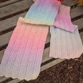 Zick and Zack (zig zag) Knitted Multi-coloured Pastel Scarf