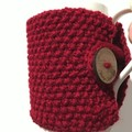 Handmade cherry red cozy or mug, tea cosy, coffee cozy, mug cozy, red cozy