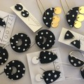 PoLKA DoT Collection - Shield Double Drop Studs (Monochrome)