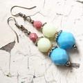 """Candy Stack"" Czech Crystal Pastel Earrings Blue Lemon Pink"