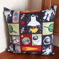 SPACE PATCHWORK PRINT CUSHION COVER