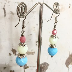 """Candy Stack"" Czech Crystal Pastel Earrings Blue Lemon Pink"