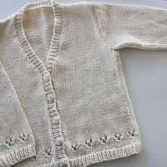 Cream Cardigan - Size 2 years  - 100% Cotton - Hand knitted