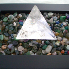 AMEOGEM'S ZenGem GARDEN with Gemstones and a CRYSTAL PYRAMID at the center.