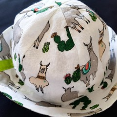 LIME LLAMA SOFT COTTON BABY HAT