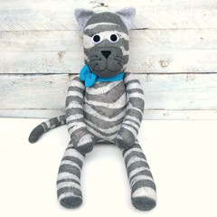 'Clayton' the Sock Cat - grey stripes - *READY TO POST*