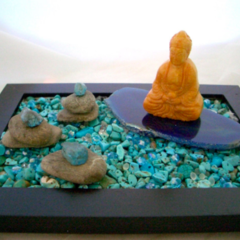 AMEOGEM'S ZEN GEM Garden with Natural Turquoise Chips, Jade-Carved Buddha.