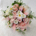Pink Peony & Rose Artificial Bridal Bouquet Wedding Flowers