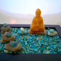AMEOGEM'S ZEN GEM Garden with Natural Turquoise Chips, Jade-Carved Buddha.