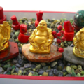 AMEOGEM'S ZENGEM Garden with Genuine Serpentine Gem Chips, Smiling Golden Buddha