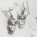 Sweet Little Big Eyed Feathery Owl Metal Charm Earrings