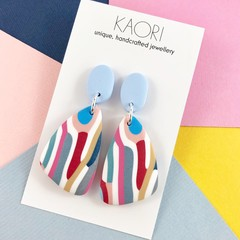 Polymer clay earrings, statement earrings in pink blue white