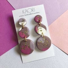 Polymer clay earrings, statement earrings in pink, gold, purple and white