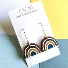 Polymer clay earrings, statement drop earrings in rainbow