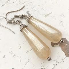 Pretty Cream Lustre Indian Glass Long Drop Dangle Earrings