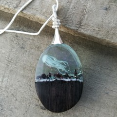 Wood resin necklace , sandalwood pendant, handmade micro landscape , jellyfish
