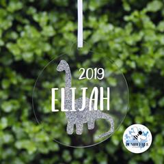 Xmas Glitter Dinosaur Bauble Personalised Christmas  Decoration  Keepsake 2019