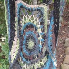 Treble Forest a one of crochet vest. made from wool/soy blend yarns. ON SALE!!!
